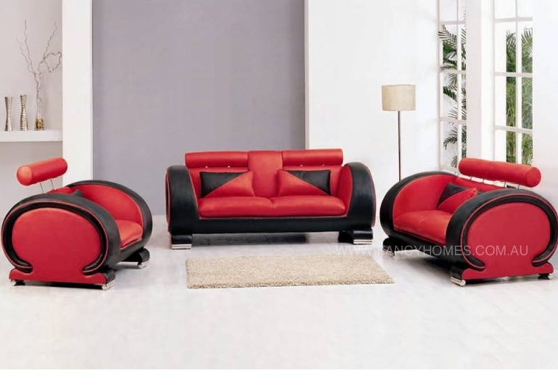 Fancy Homes Tammy lounges suites leather sofa in red and black leather