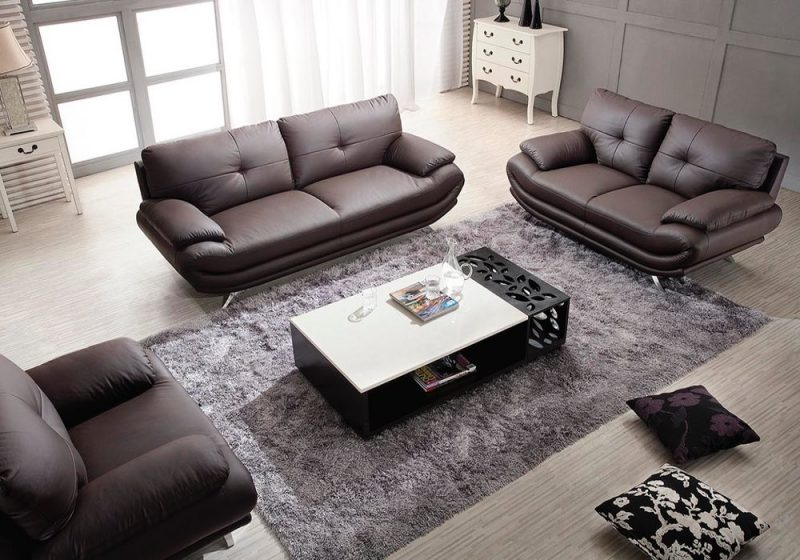 Fancy Homes Diapason lounges suites leather sofa in brown leather