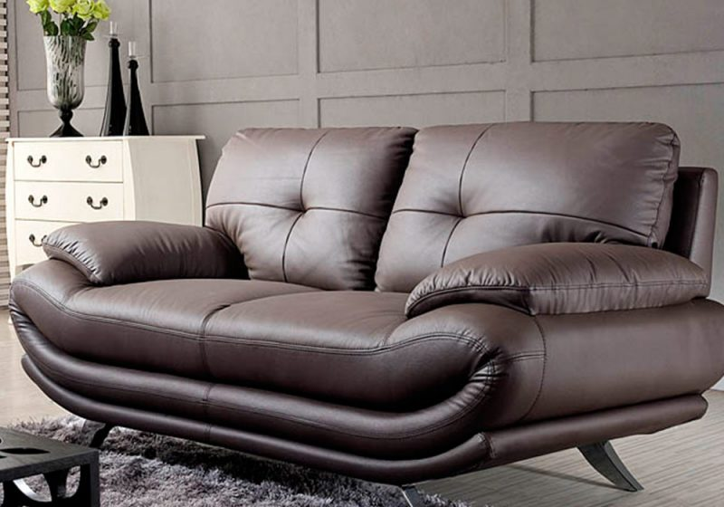 Two seater of Fancy Homes Diapason lounges suites leather sofa in brown leather