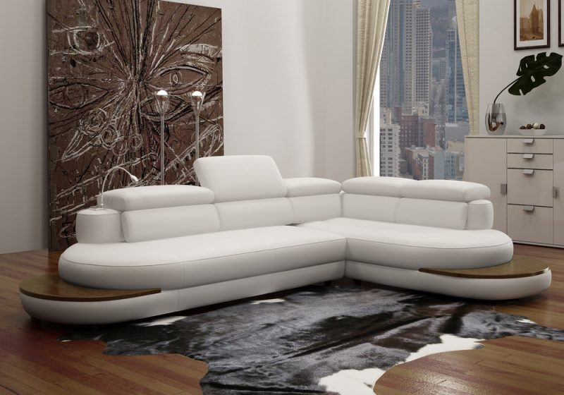 Fancy Homes Kara-B chaise leather sofa in white leather