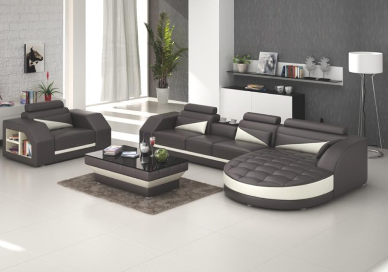 Fancy Homes Savino-E chaise leather sofa in brown and creamy white leather