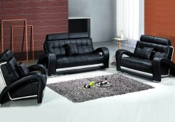 Fancy Homes Alfa lounges suites leather sofa in black leather featuring adjustable headrests