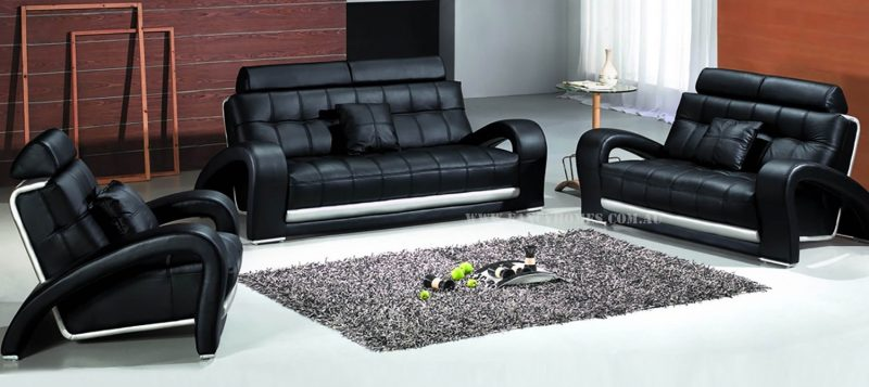 Fancy Homes Alfa lounges suites leather sofa in black leather