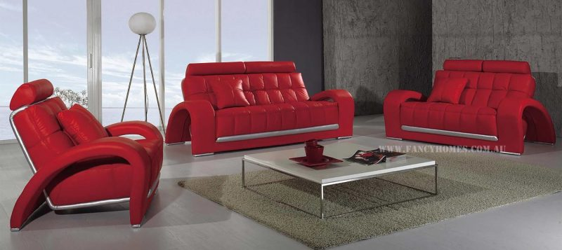 Fancy Homes Alfa lounges suites leather sofa in red leather