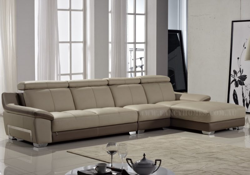 Fancy Homes Alia chaise leather sofa in beige and taupe leather