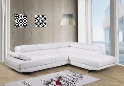 Fancy Homes Anta chaise leather sofa in white features adjustable headrests and armrests