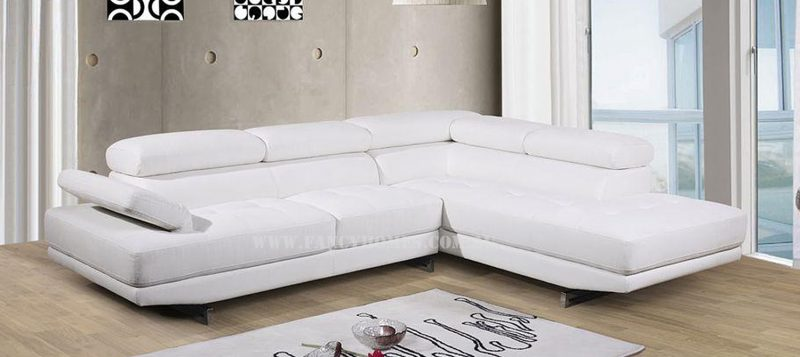 Fancy Homes Anta chaise leather sofa in white leather