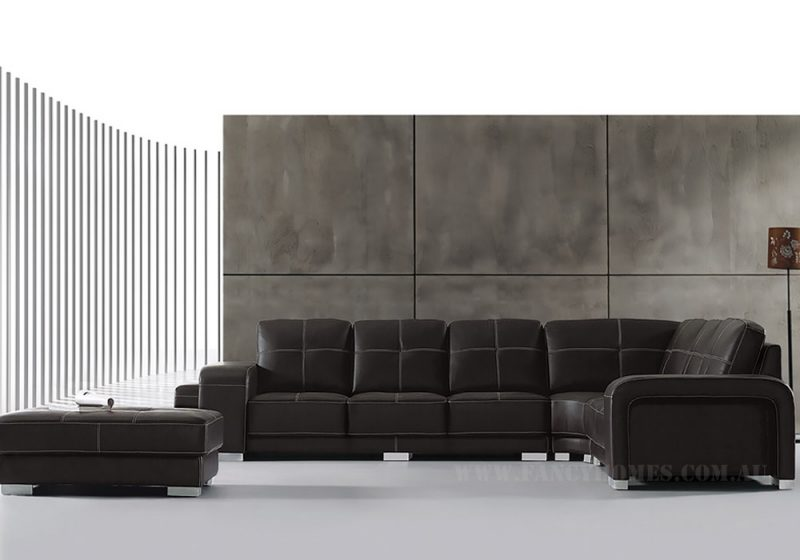 Fancy Homes Arthur corner leather sofa in dark brown leather