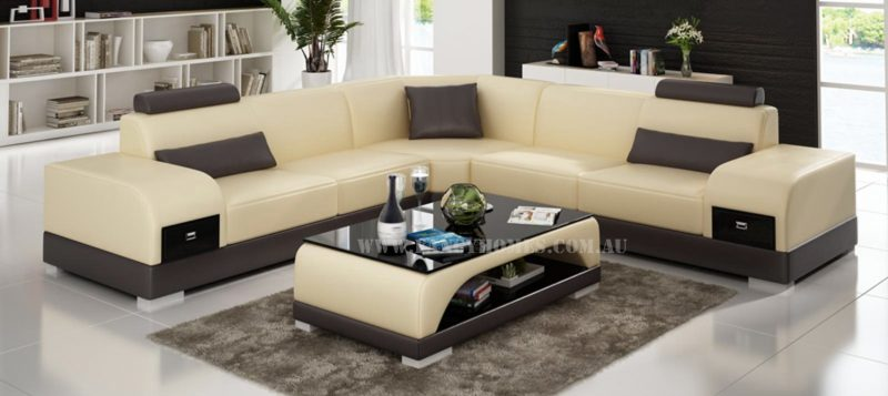 Fancy Homes Aura-C corner leather sofa in beige and brown leather