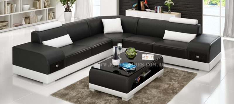 Fancy Homes Aura-C corner leather sofa in black and white leather