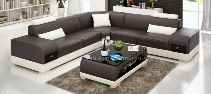 Fancy Homes Aura-C corner leather sofa in brown and white leather