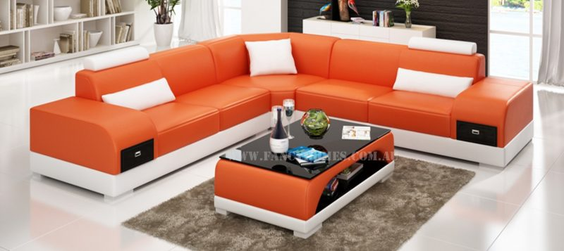 Fancy Homes Aura-C corner leather sofa in orange and white