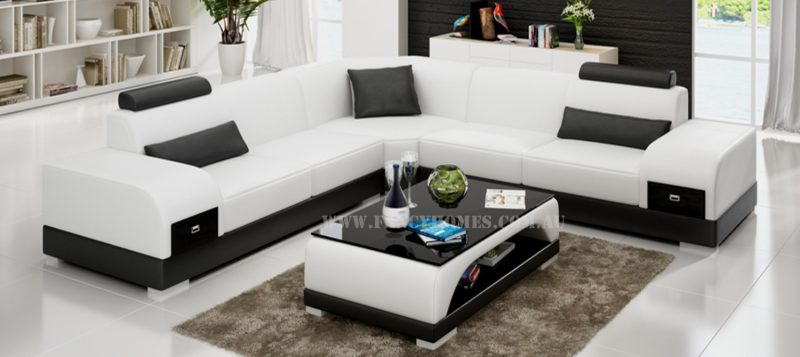 Fancy Homes Aura-C corner leather sofa in white and black leather