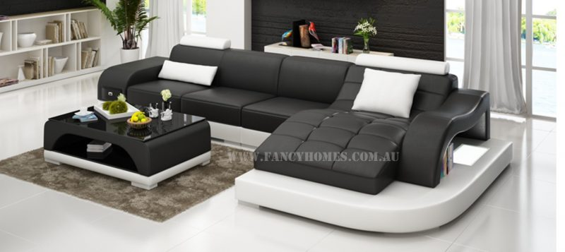 Fancy Homes Aura-D chaise leather sofa in black and white leather