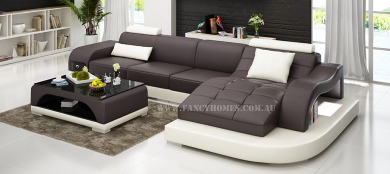 Fancy Homes Aura-D chaise leather sofa in brown and white leather