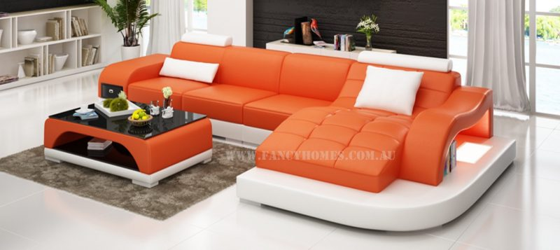 Fancy Homes Aura-D chaise leather sofa in orange and white leather