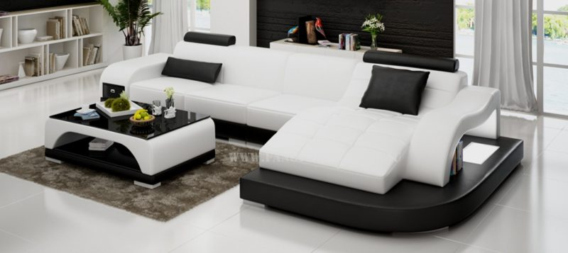 Fancy Homes Aura-D chaise leather sofa in white and black leather