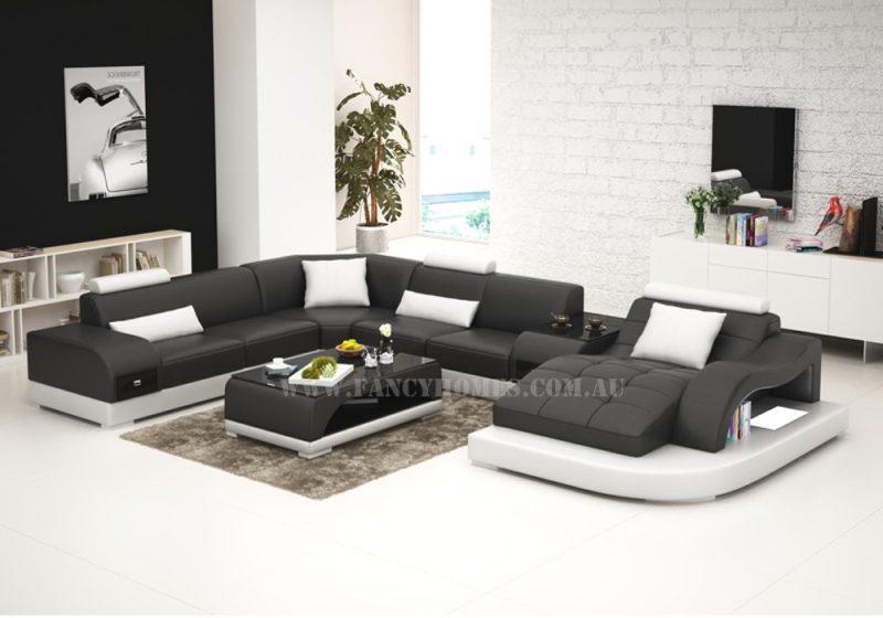 AURA-LEATHER MODULAR LOUNGE IN BLACK WHITE