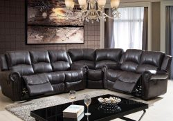 Fancy Homes Alsace L-shaped recliner leather sofa in brown leather
