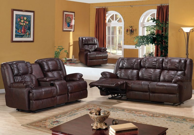 Fancy Homes Bennet recliner leather sofa in brown leather