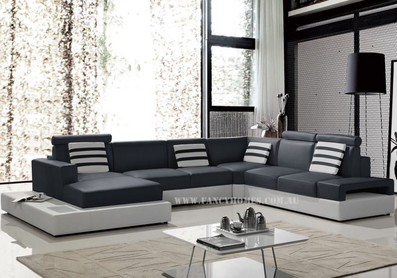 Fancy Homes Bianca modular leather sofa in navy and white leather featuring higher back, in-built lighting system and adjustable headrests