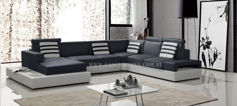 Fancy Homes Bianca modular leather sofa in navy and white leather