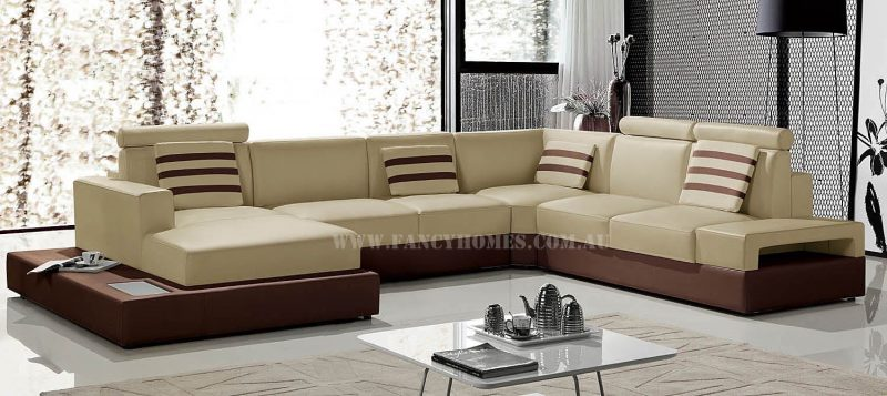 Fancy Homes Bianca modular leather sofa in beige and brown leather