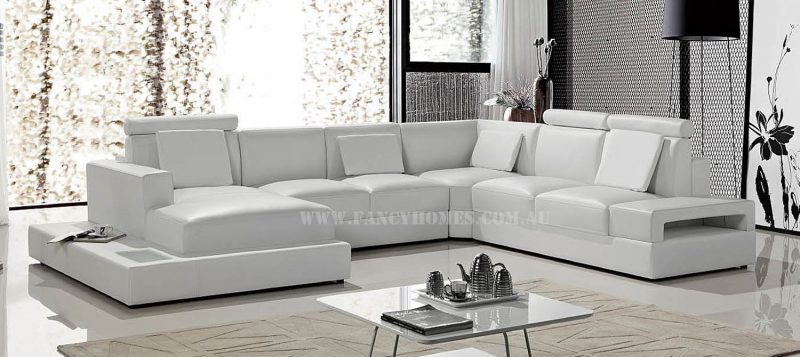 Fancy Homes Bianca modular leather sofa in white leather