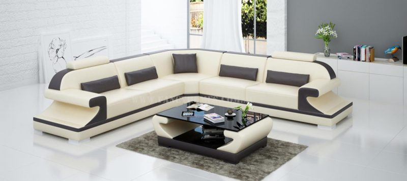 Fancy Homes Bruno-B corner leather sofa in beige and brown leather