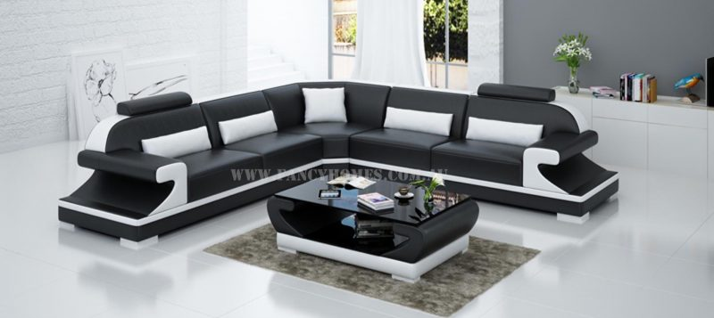 Fancy Homes Bruno-B corner leather sofa in black and white leather