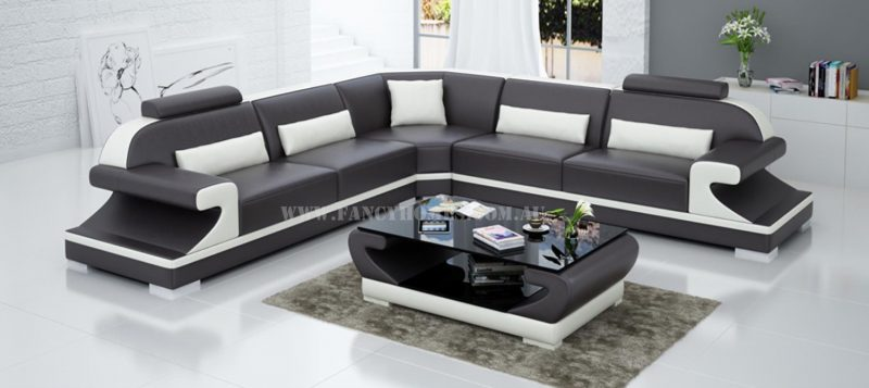 Fancy Homes Bruno-B corner leather sofa in brown and white leather