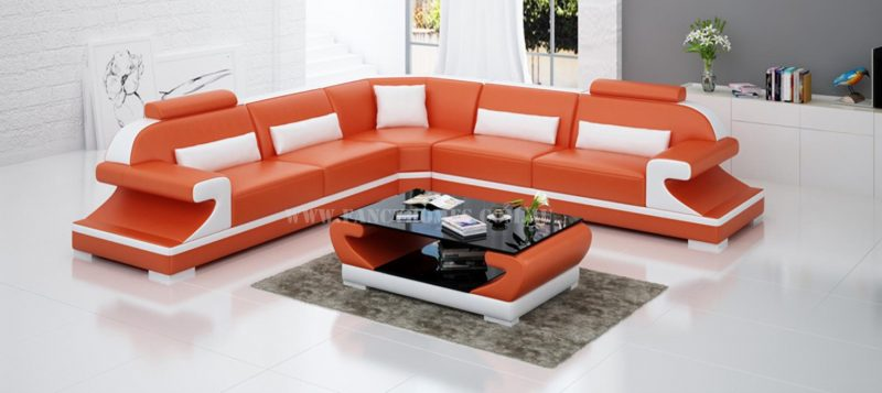 Fancy Homes Bruno-B corner leather sofa in orange and white leather