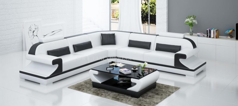 Fancy Homes Bruno-B corner leather sofa in white and black leather