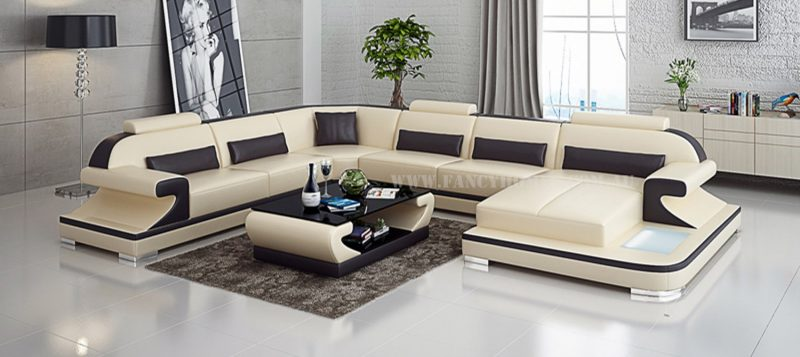 Fancy Homes Bruno modular leather sofa in beige and brown leather