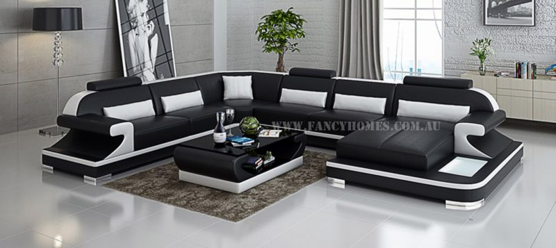 Fancy Homes Bruno modular leather sofa in black and white leather