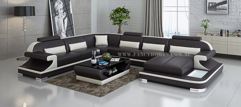 Fancy Homes Bruno modular leather sofa in brown and white leather