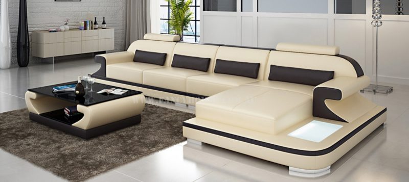 Fancy Homes Bruno-C chaise leather sofa in beige and brown leather