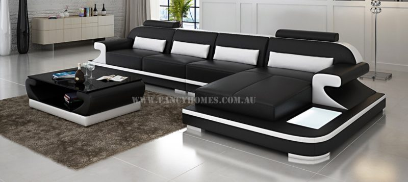 Fancy Homes Bruno-C chaise leather sofa in black and white leather