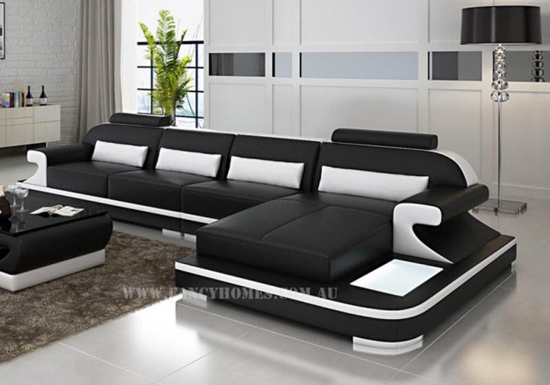 Fancy Homes Bruno-C chaise leather sofa in black and white leather featuring LED lighting system, curved armrests and adjustable headrests
