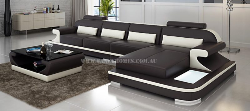 Fancy Homes Bruno-C chaise leather sofa in brown and white leather