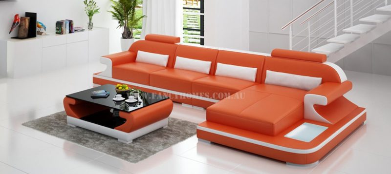 Fancy Homes Bruno-C chaise leather sofa in orange and white leather