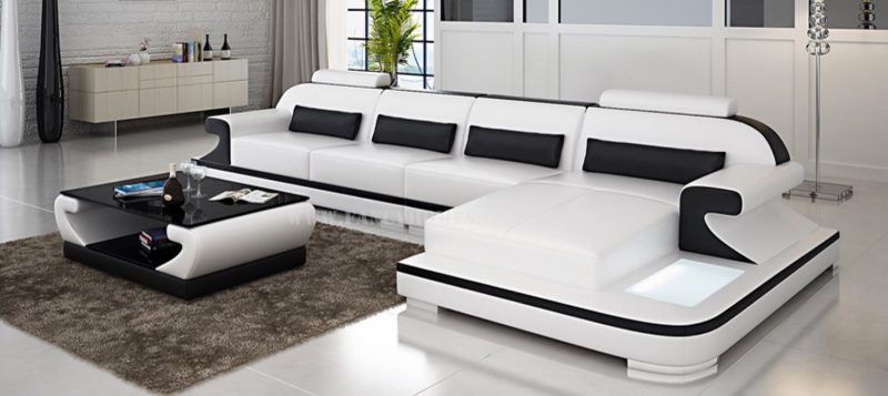 Fancy Homes Bruno-c chaise leather sofa in white and black leather