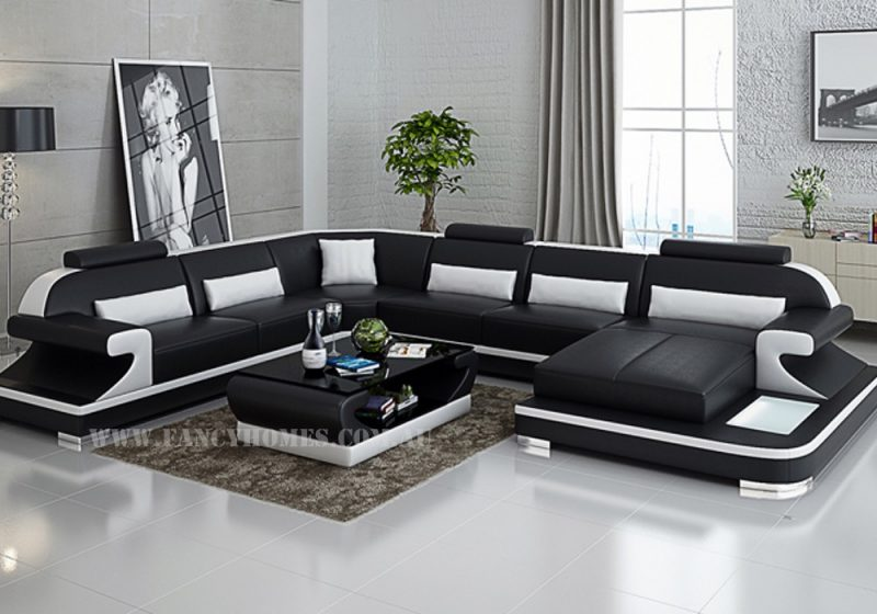 Fancy Homes Bruno modular leather sofa in black and white leather featuring LED lighting system, curved armrests and adjustable headrests