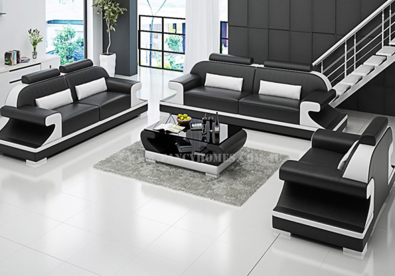 Fancy Homes Bruno-D lounges suites leather sofa in black and white leather featuring curved armrests and adjustable headrests