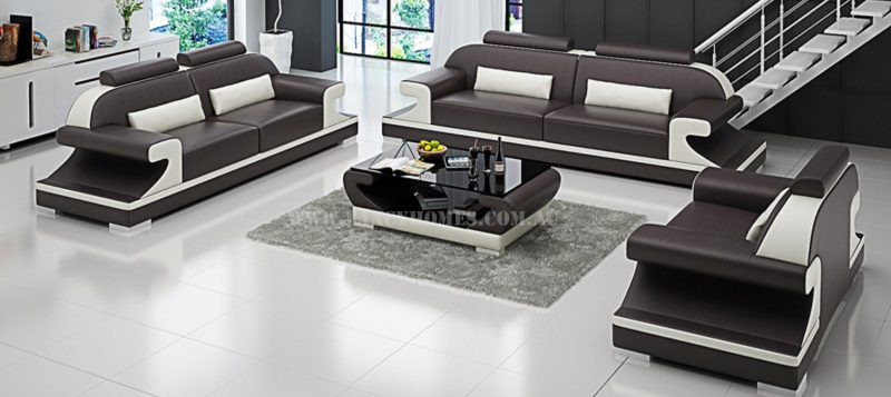 Fancy Homes Bruno-D lounges suites leather sofa in brown and white leather