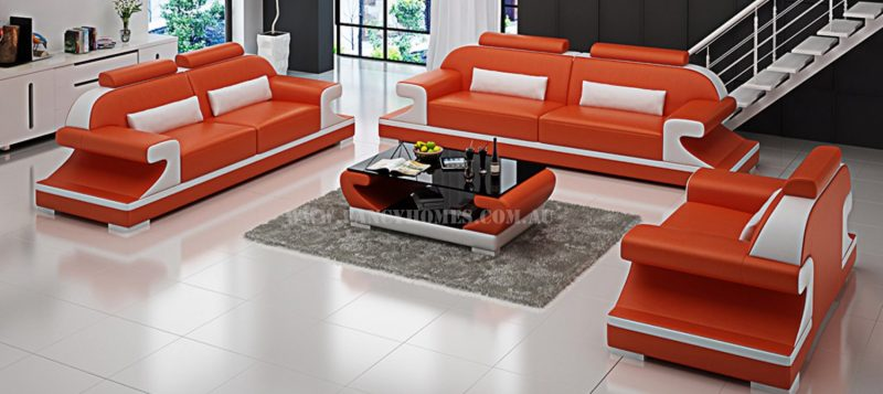 Fancy Homes Bruno-D lounges suites leather sofa in orange and white leather