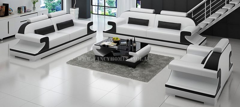 Fancy Homes Bruno-D lounges suites leather sofa in white and black leather