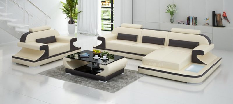Fancy Homes Bruno-E chaise leather sofa in beige and brown leather