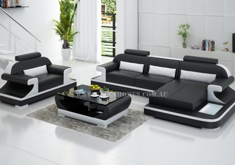 Fancy Homes Bruno-E chaise leather sofa in black and white leather