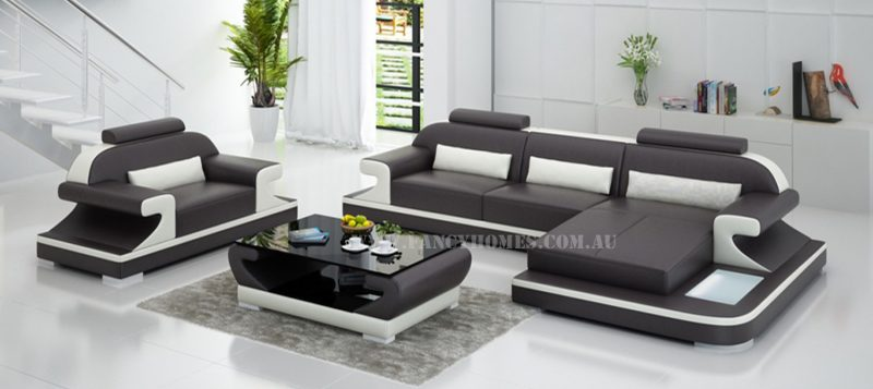 Fancy Homes Bruno-E chaise leather sofa in brown and white leather